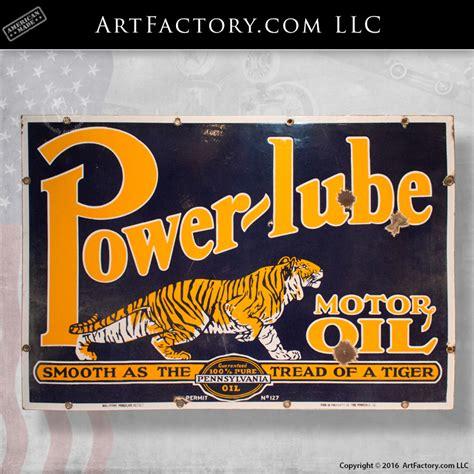power lube motor oil tiger sign rare original vintage