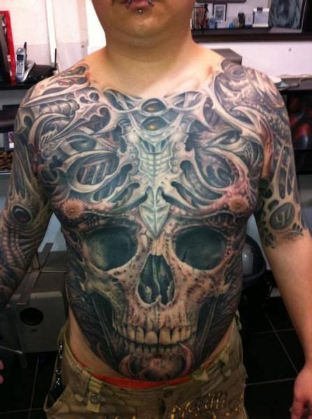 tattoo biomechanical chest 36 best skull stomach tattoo designs images on pinterest