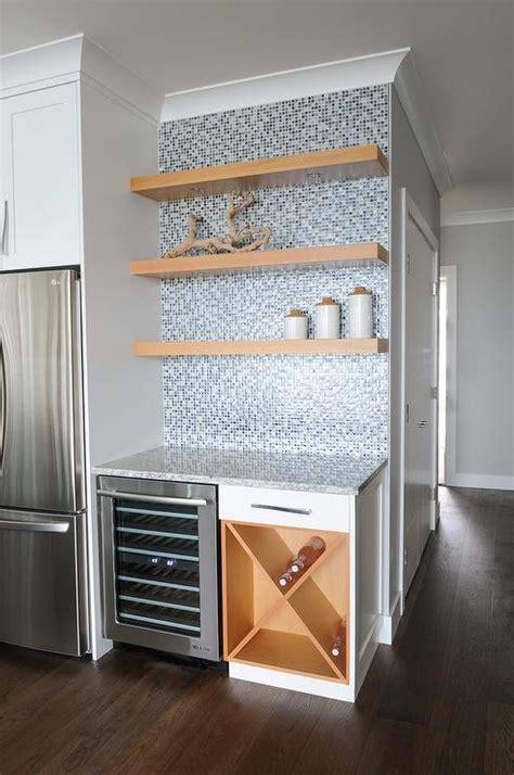 Kitchen Bar with Blue Mosaic Backsplash Tiles and Maple