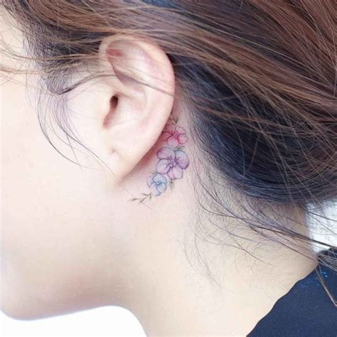 flower tattoo behind ear flowers behind ear tattoo best tattoo ideas gallery