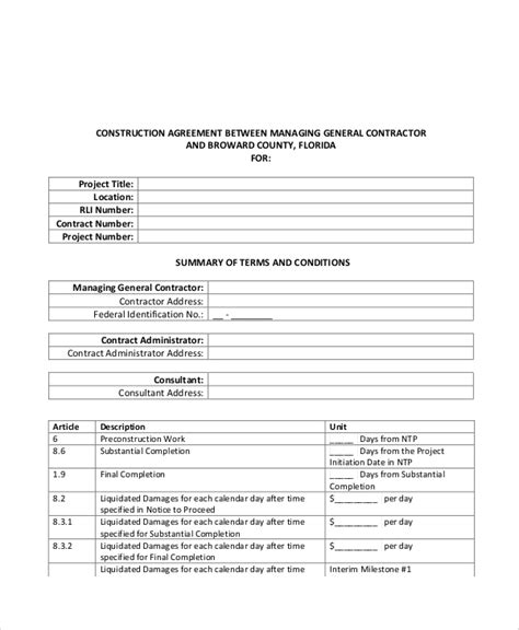 13 Sle Construction Contract Agreements Sle Templates Generic Construction Contract Template