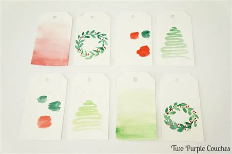 easy watercolor gift tags tutorial perfect for a beginner easy watercolor christmas gift tags two purple couches
