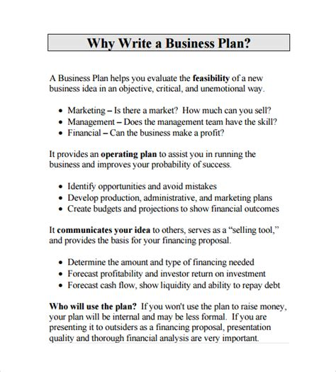 preparing a business plan template sle business template 25 documents in pdf