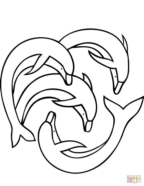 four dolphins coloring page free printable coloring pages
