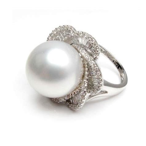 white south sea pearl ring 14mm 15mm aa pearl