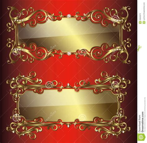 vector golden frames  borders stock vector