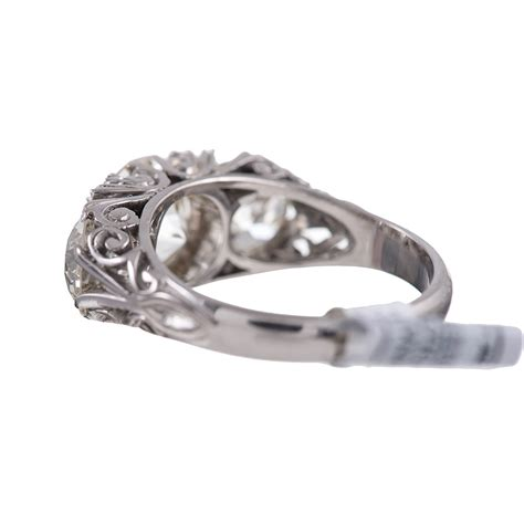 18 karat white gold carved ring