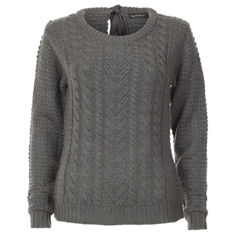 knitted womens jumpers womens grey bow cable knit jumper