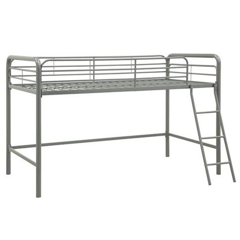 twin metal loft bed metal junior metal twin loft bed in silver 5458096