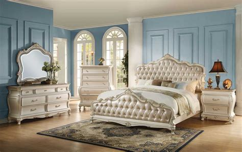 queen white bedroom set the acme 23540q 4pcs chantelle rose gold pu pearl white