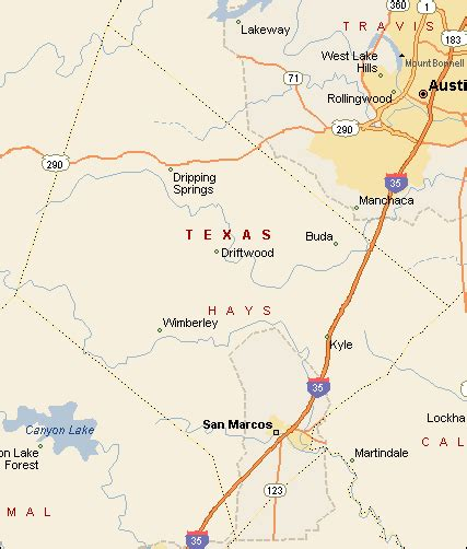 driftwood texas map hays county texas color map