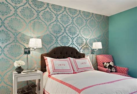turquoise bedroom wallpaper teal damask wallpaper transitional bedroom marks