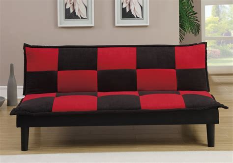 red checkered sofa living furniture adjustable sofa bed futon couch black red