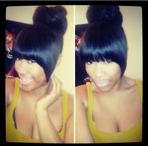 how to do a weave bun with bangs weave bun hairstyles with bangs imagesgratisylegal