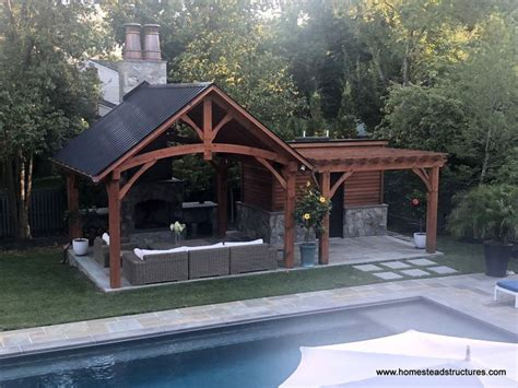 timber frame pavilion  attached wood pergola