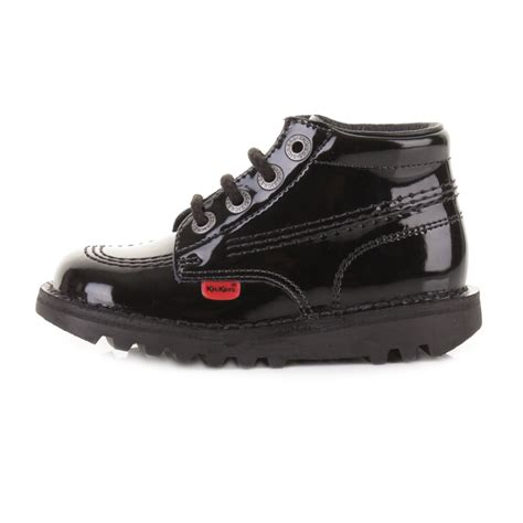 Kickers Casual Leather kickers kick hi infant black patent casual lace up leather boots shoe size ebay