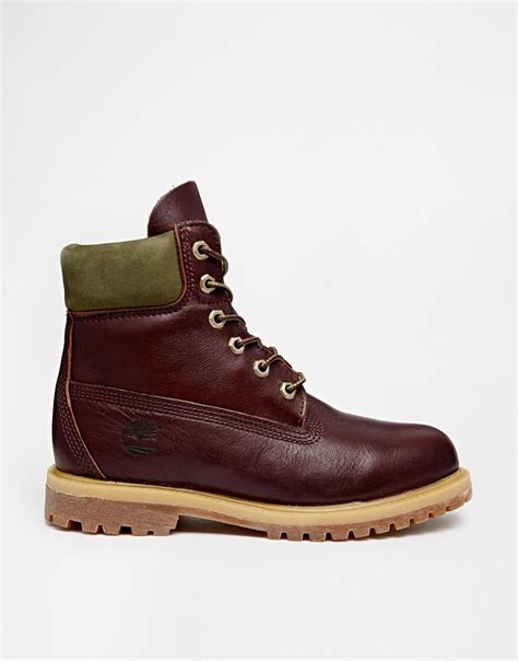 timberland 6 inch premium burgundy lace up flat boot in