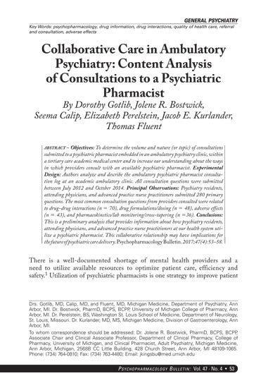 Psychiatric Pharmacist by Collaborative Care In Ambulatory Psychiatry Content