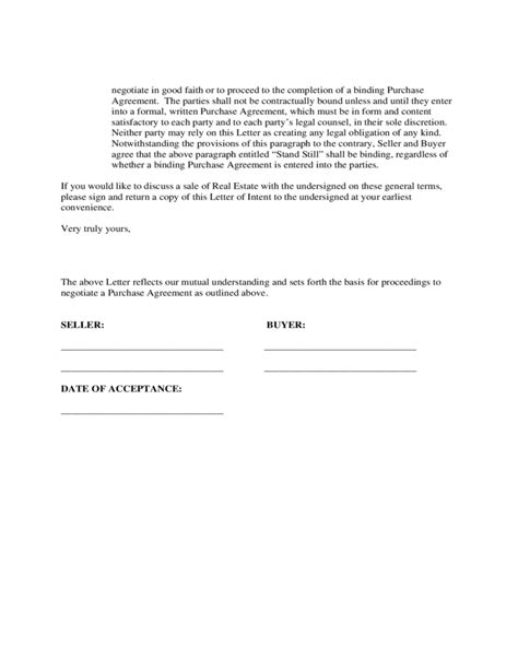 Letter Of Intent To Negotiate Lease Letter Of Intent To Purchase Real Estate Free