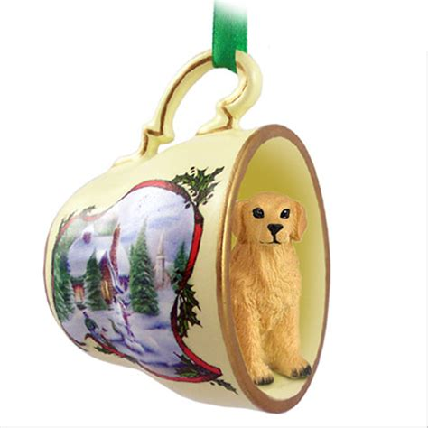 golden retriever ornament figurine christmas holiday teacup