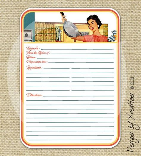 s blank recipe book a journal with templates to write and organize all your favorite recipes s cooking series volume 2 books retro blank recipe card digital template 5x7 inches