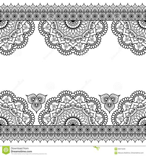 indian mehndi henna line lace elements with flowers