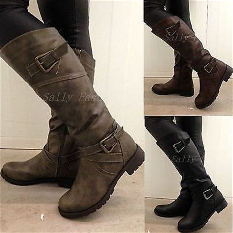 ladies biker style boots new womens knee boots slouchy low heel biker boots fur