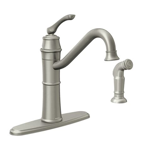 pictures of moen kitchen faucets shop moen wetherly spot resist stainless 1 handle deck mount high arc kitchen faucet at lowes