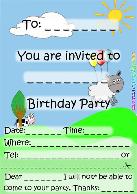 printable boys birthday party invitation template emuroom