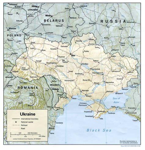 physical map of ukraine ukraine physical map 1993 size