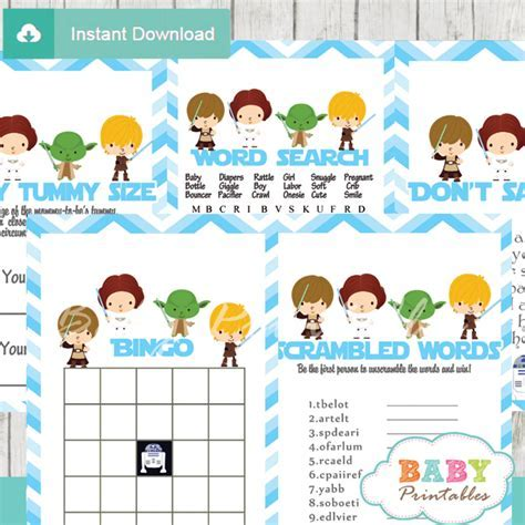 Blue Chevron Star Wars Baby Shower Games ? D205