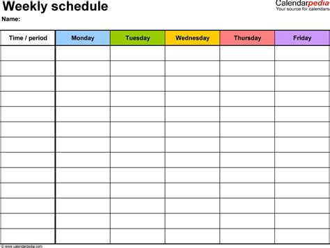 5 day weekly calendar template free weekly schedule templates for word 18 templates