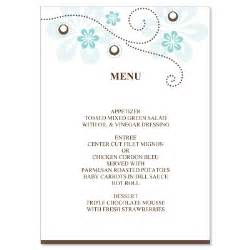menu cards templates diy wedding menu card templates