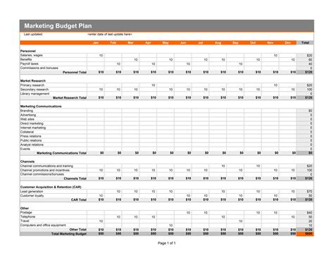 Marketing Budget Plan Template Template For Marketing Plan