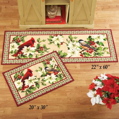 christmas accent rugs poinsettia cardinal christmas accent rug from collections etc