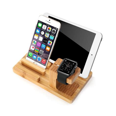 Ipad Holder For Bed bamboo wood stand apple watch and ipod iphone ipad and