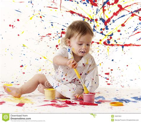 painting baby painting baby stock image image of child smock person