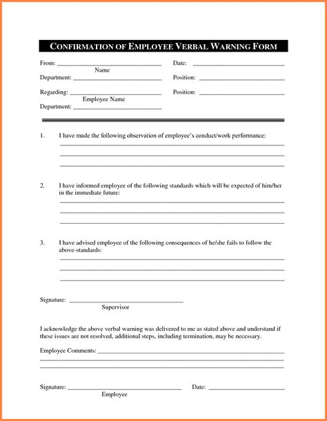 verbal warning template letter 7 verbal warning form dentist resumes