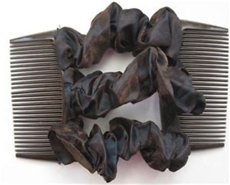 updo with elastic combs dark brown satin fabric material double elastic stretch