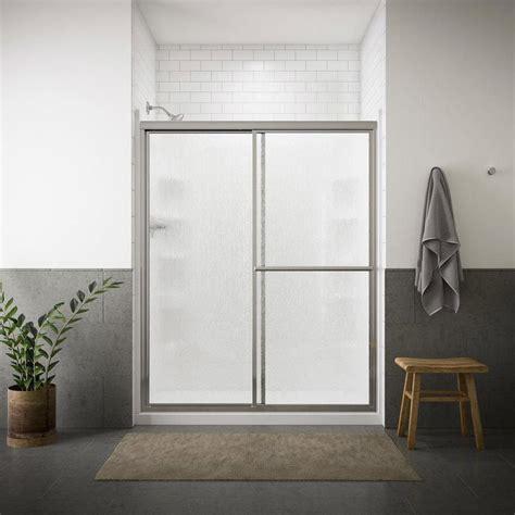 39 Shower Door Shop Sterling Deluxe 39 In To 44 In Framed Silver Sliding Shower Door At Lowes