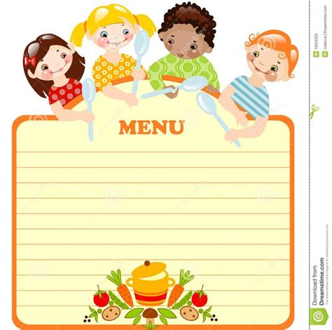 blank kids menu template invitation templates