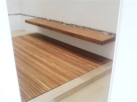 custom teak shower bench pin by heather ekstrom on bathroom ideas pinterest