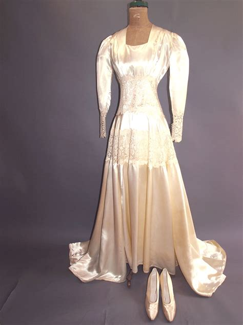 vintage 1940 s button back satin and lace bridal gown an