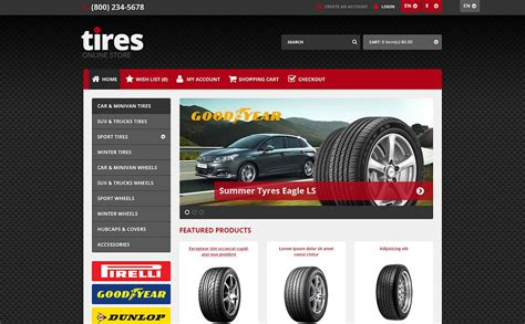 opencart responsive templates responsive tires store opencart template 45525