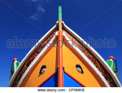 bow of a boat called bow of traditional maltese fishing boat called luzzu with