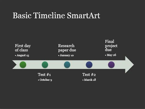 Timeline Smartart Diagram Slide White On Dark Gray Widescreen Office Templates Powerpoint Smartart Timeline Template