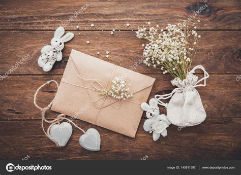 Wedding invitation. Craft envelope with decorations