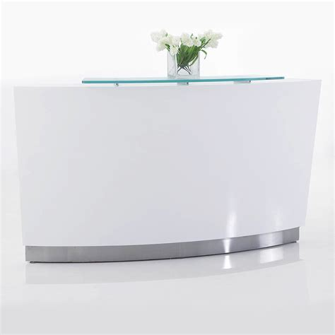 White Reception Desk Brilliance White High Gloss Curved Reception Desk Single Module Fast Office Furniture