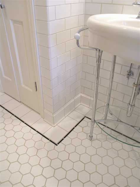subway tile on bathroom floor bathroom tour from bungalow tile hexagons bathroom