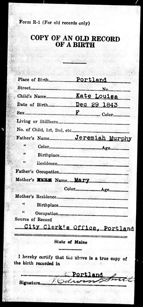Maine Birth Records Jeremiah Murphy And Murphy